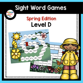 Sight Word Path Games for Kindergarten - Spring (Level D)