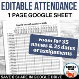 Editable Student Attendance Sheet Gradebook Printable Template