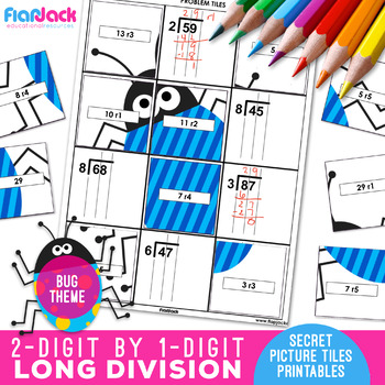 Long Division Worksheets | 2 Digit by 1 Digit | Secret Pictures
