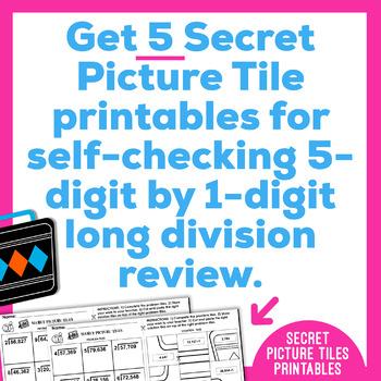 Long Division Worksheets | 5 Digit by 1 Digit | Secret Pictures