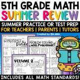 Math Review End of Year Activities Summer Printable Packet Grade 5
