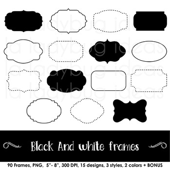 Borders and Frames. Black and white. Clip art. 90 frames total. PNG files.