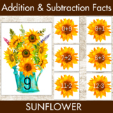 Addition Facts 1-12 Centers Sunflower Theme