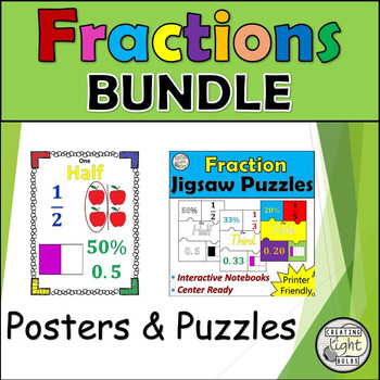 Fractions BUNDLE Fractions Posters & Fractions Jigsaw Puzzles