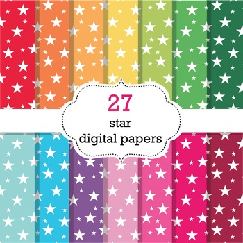 27 Star Digital Papers, Star Background Paper