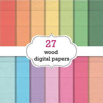 27 Wood Digital Papers Scrapbook Papers, Background Papers