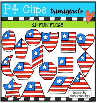 2D FUN American Flag Shapes (P4 Clips Trioriginals)