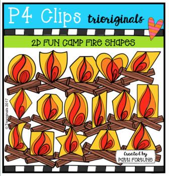 2D FUN Camp Fire Shapes (P4 Clips Trioriginals Clip Art)
