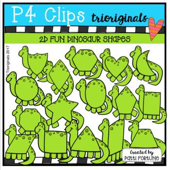 2D FUN Dinosaur Shapes (P4 Clips Trioriginals Clip Art)