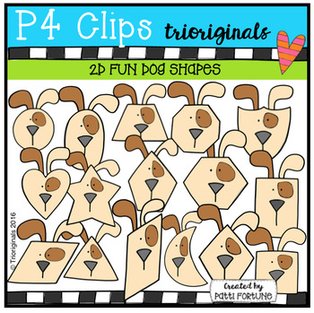 2D FUN Dog Shapes (P4 Clips Trioriginals Digital Clip Art)