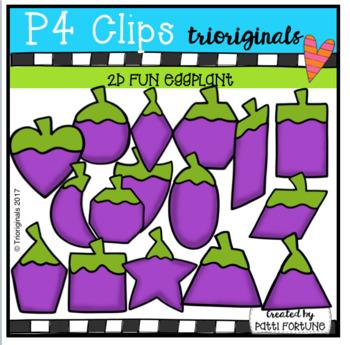 2D FUN Eggplant Shapes (P4 Clips Trioriginals Clip Art)