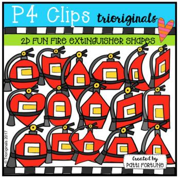 2D FUN Fire Extinguisher Shapes (P4 Clips Trioriginals Clip Art)