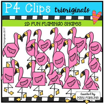 2D FUN Flamingo Shapes (P4 Clips Trioriginals Clip Art)