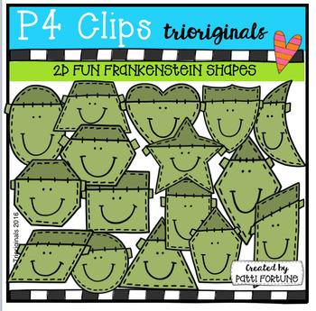 2D FUN Frankenstein Shapes (P4 Clips Trioriginals Digital Clip Art)