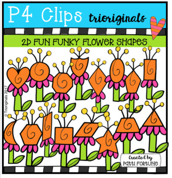 2D FUN Funky Flowers (P4 Clips Trioriginals Clip Art)