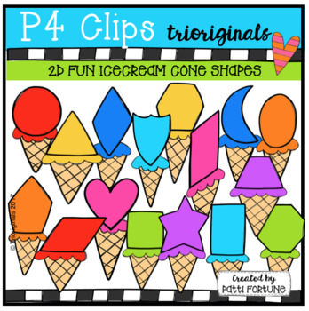 2D FUN Ice Cream Shapes (P4 Clips Trioriginals Clip Art)