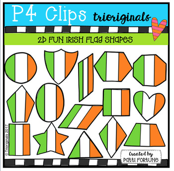 2D FUN Irish Flag Shapes (P4 Clips Trioriginals Clip Art)