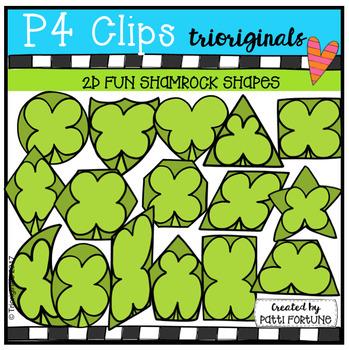 2D FUN Shamrock Shapes (P4 Clips Trioriginals Clip Art)