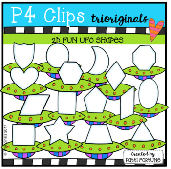 2D FUN UFO Shapes (P4 Clips Trioriginals Clip Art)
