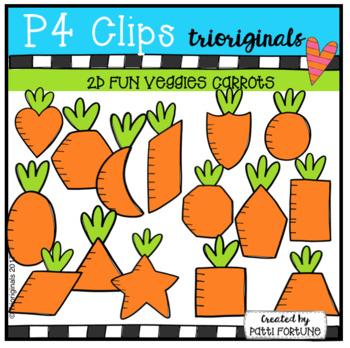 2D FUN Vegetables CARROTS (P4 Clips Trioriginals Clip Art)