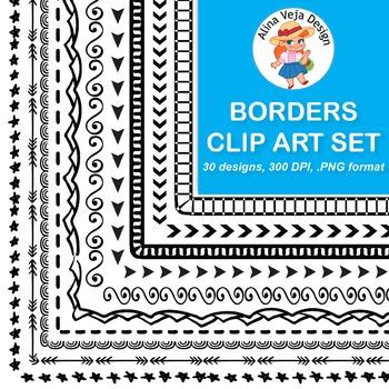 30 Borders Clip Art {Doodle & Geometric Set 5}