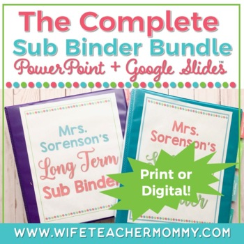 Long Term Sub Binder (Maternity Leave) Planner & Short Term Substitute Bundle
