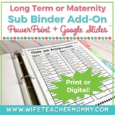 Long Term Substitute Binder (or Maternity Leave) & Planner ADD-ON