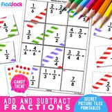 Add Subtract Fractions Worksheets | Secret Pictures Tiles