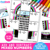 Add Subtract Mixed Numbers Worksheets | Secret Pictures Tiles