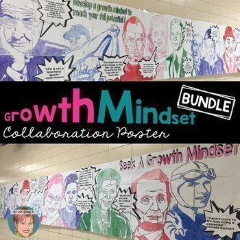"Growth Mindset Poster BUNDLE - Inspirational quotes from 14 ""Famous Faces""!"