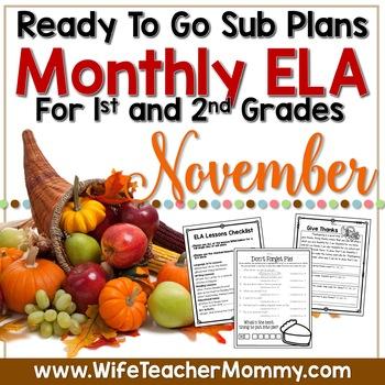 November Sub Plans ELA for 1st and 2nd Grade. Thanksgiving
