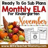 November Sub Plans ELA for Kindergarten. Thanksgiving
