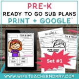 Pre-K Sub Plans (Preschool Emergency Substitute Plans) Set #1