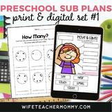 Pre-K Sub Plans (Preschool Emergency Sub Lessons) Set #1 P