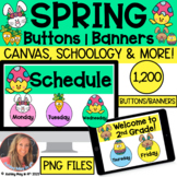 Spring Easter Canvas and Schoology Elementary Buttons and Banners Bundle