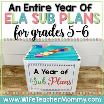 A Year of Emergency Sub Plans for 5th, 6th Grade Sub Tub Bundle ELA
