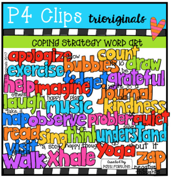 A- Z Coping Strategies Word Art (P4 Clips Trioriginals Clip Art)