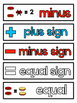 ADDITION AND SUBTRACTION VOCABULARY CARDS