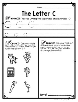 Alphabet Worksheets: Write, Circle, Draw ABC Letter Writing Practice