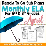 April Sub Plans ELA for 5th, 6th Grades. Easter Substitute Plans