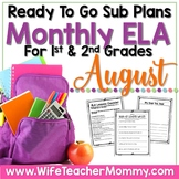 August Sub Plans ELA for 1st, 2nd Grades. Back to School No Prep