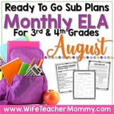 August Sub Plans ELA for 3rd, 4th Grades. Back to School No Prep