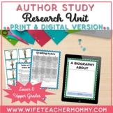 Author Study Research Unit- PRINTABLE + GOOGLE SLIDES Dist