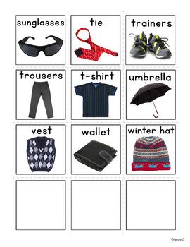Clothing Unit, Boys Clothes Flashcards, Pecs