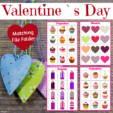 Valentine`s Day Matching File Folder for Autism