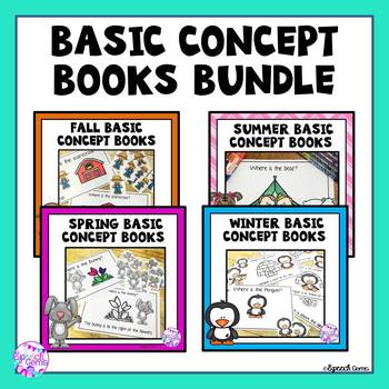 Basic Concept Speech Therapy BUNDLE  (Fall, Winter, Spring and Summer books)