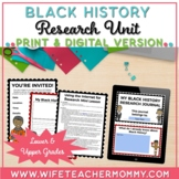 Black History Research Project and Unit- Black History Mon