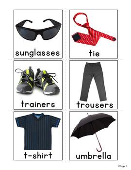 Boys Clothing Photo Flash Cards