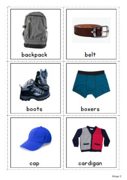 Boys Clothing Cards for Speech Therapy and ESL