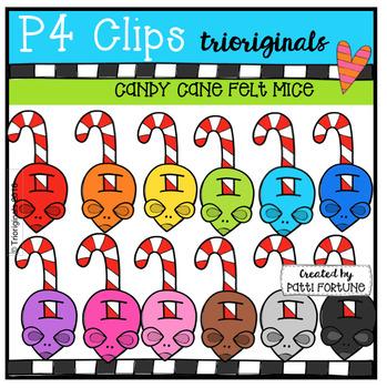 Candy Cane Felt Mice (P4 Clips Trioriginals Digital Clip Art)